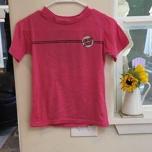 Pink Santa Cruz skateboards T shirt girls size 8